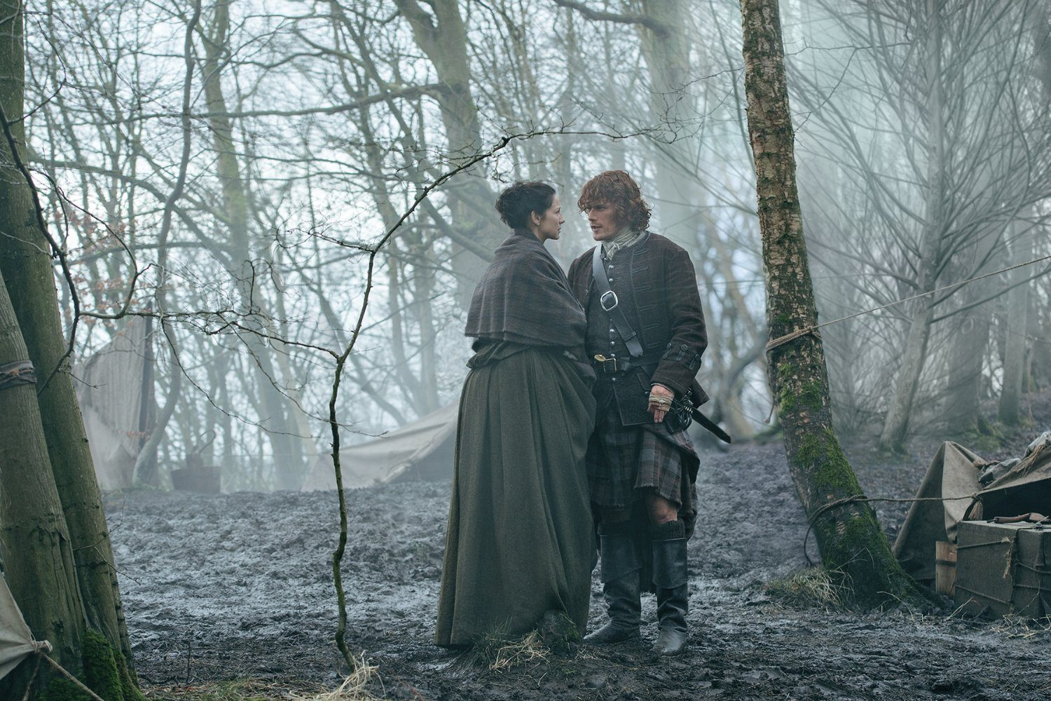 "Claire and Jamie in the Season 2 finale of Outlander ""Dragonfly in Amber"""