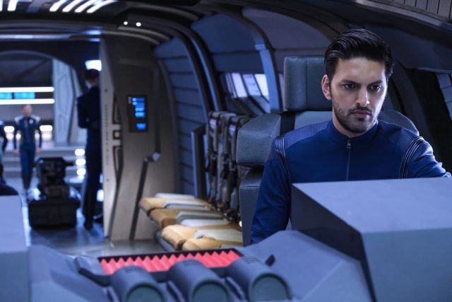 Shazad Latif in 'Star Trek: Discovery' working on a ship.