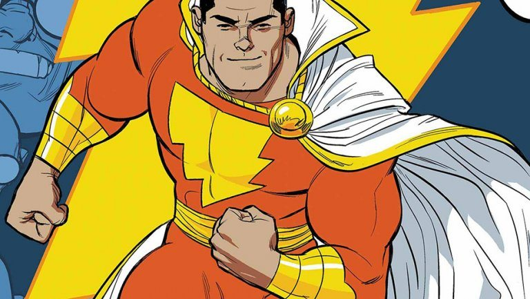 A hero in a red and yellow uniform with a white cape