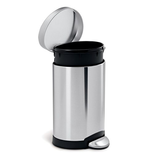 silver trash can