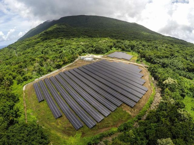 A seven acre solar panel array in the middle of the forest