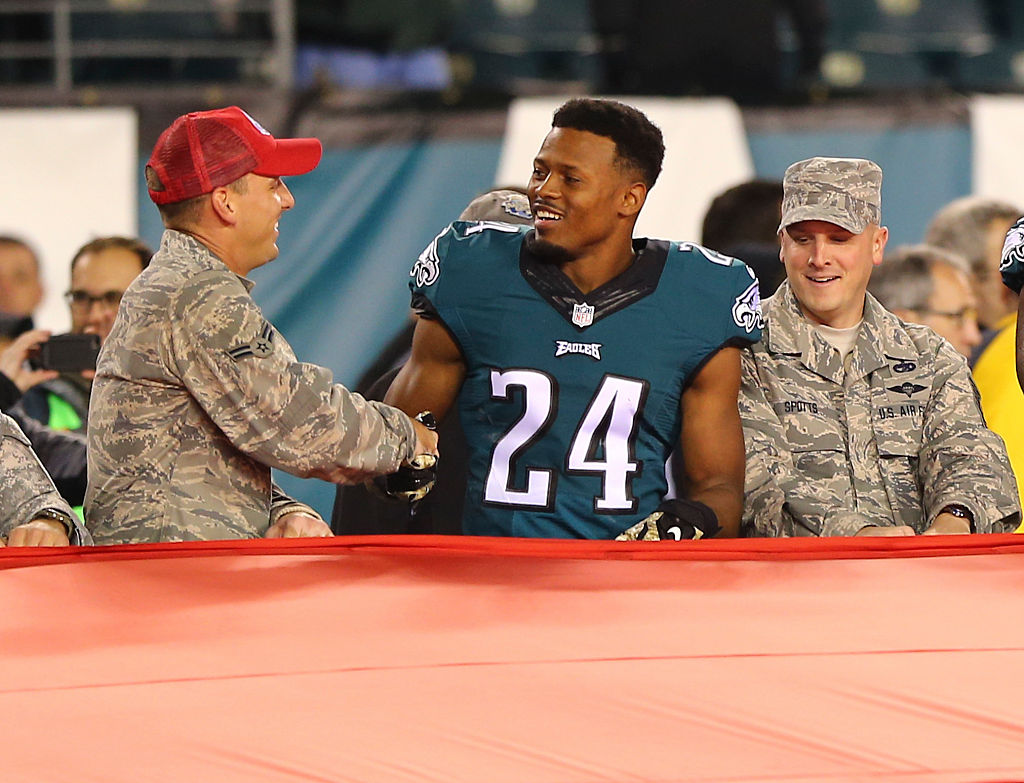 Football player with soldier