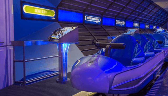 The Space Mountain ride seen without passengers.