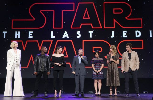 The cast of 'Star Wars: The Last Jedi' on stage