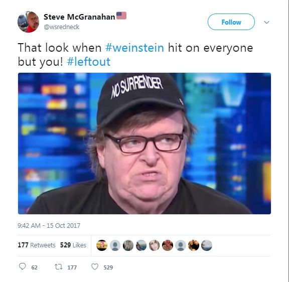 a tweet with a photo of Weinstein