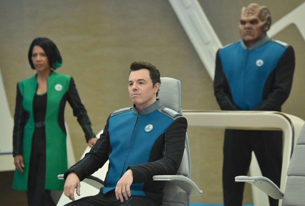 Penny Johnson Jerald, Seth MacFarlane and Peter Macon in The Orville