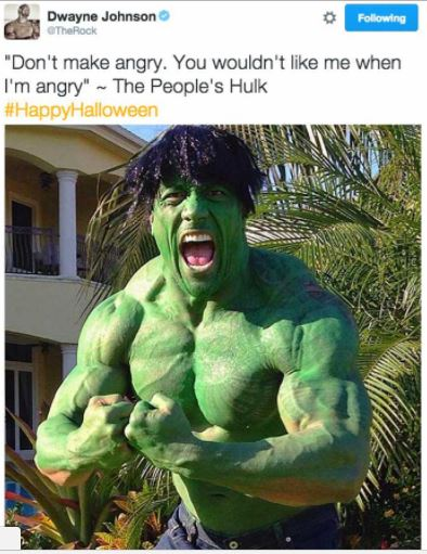 the rock dressed as the hulk on instagram