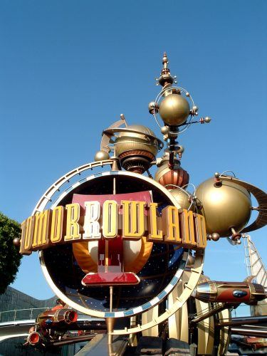 Tomorrowland entrance seen in front of a blue sky.