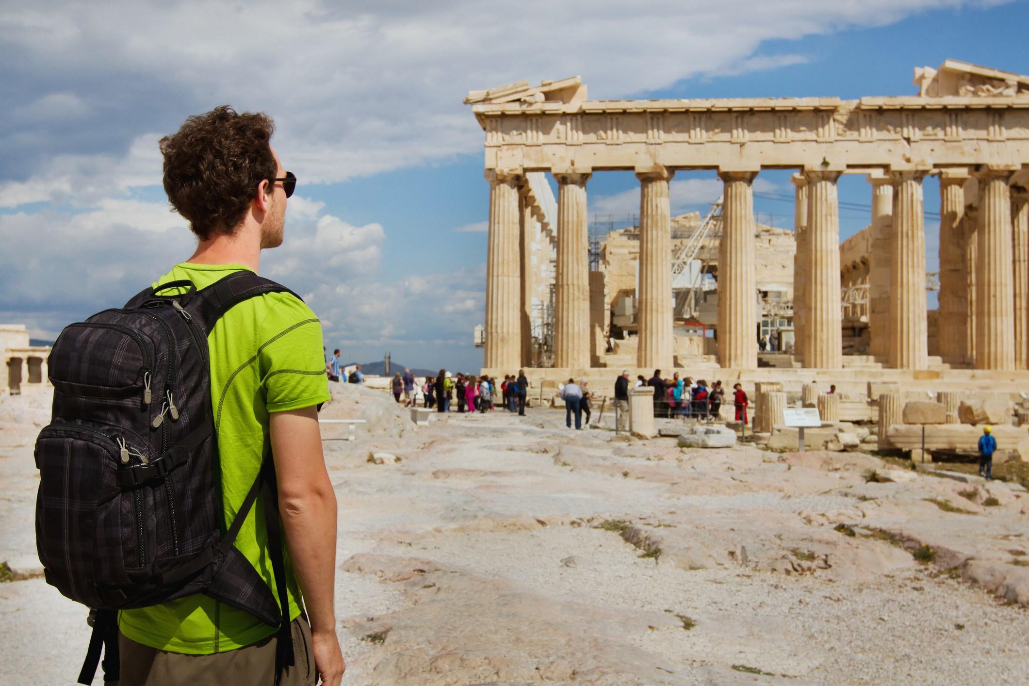 Tourist at the Parthenon