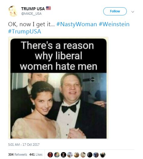 a tweet with a photo of Weinstein in a tuxedo