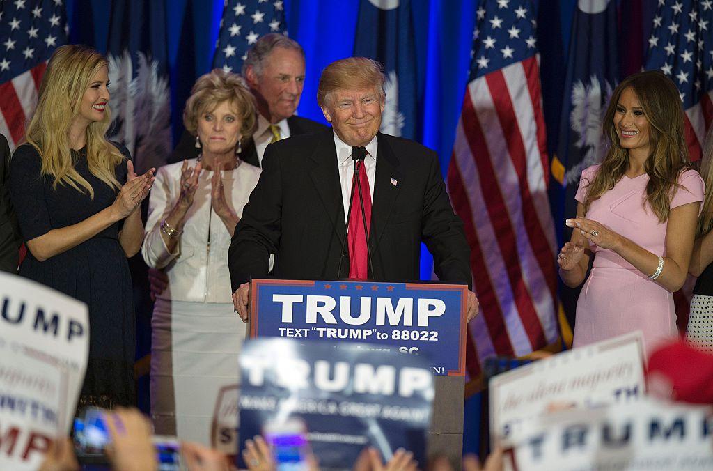 Donald Trump celebrates winning the South Carolina primary in Spartanburg, South Carolina