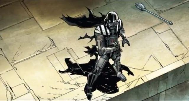 Vader standing triumphantly holding a lightsaber