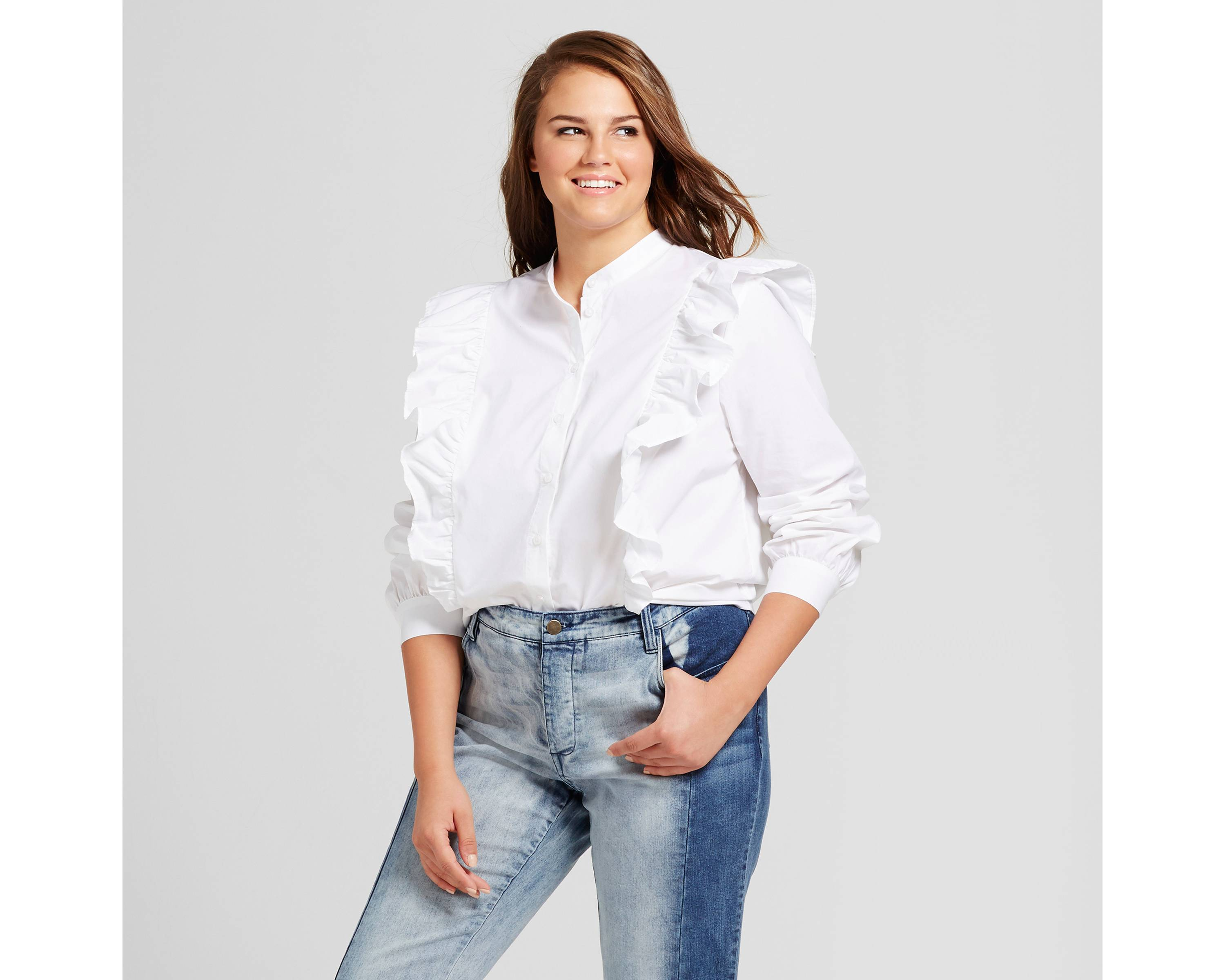 Women's Plus Size Ruffle Poplin Blouse - Who What Wear
