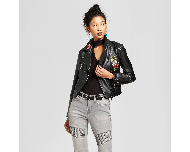 Women's Embroidered Moto Jacket - Xhilaration