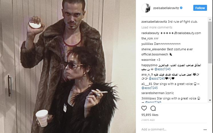 zoe kravitz dressed up as fight club on instagram