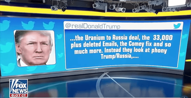 A Donald Trump tweet is shown on a screen