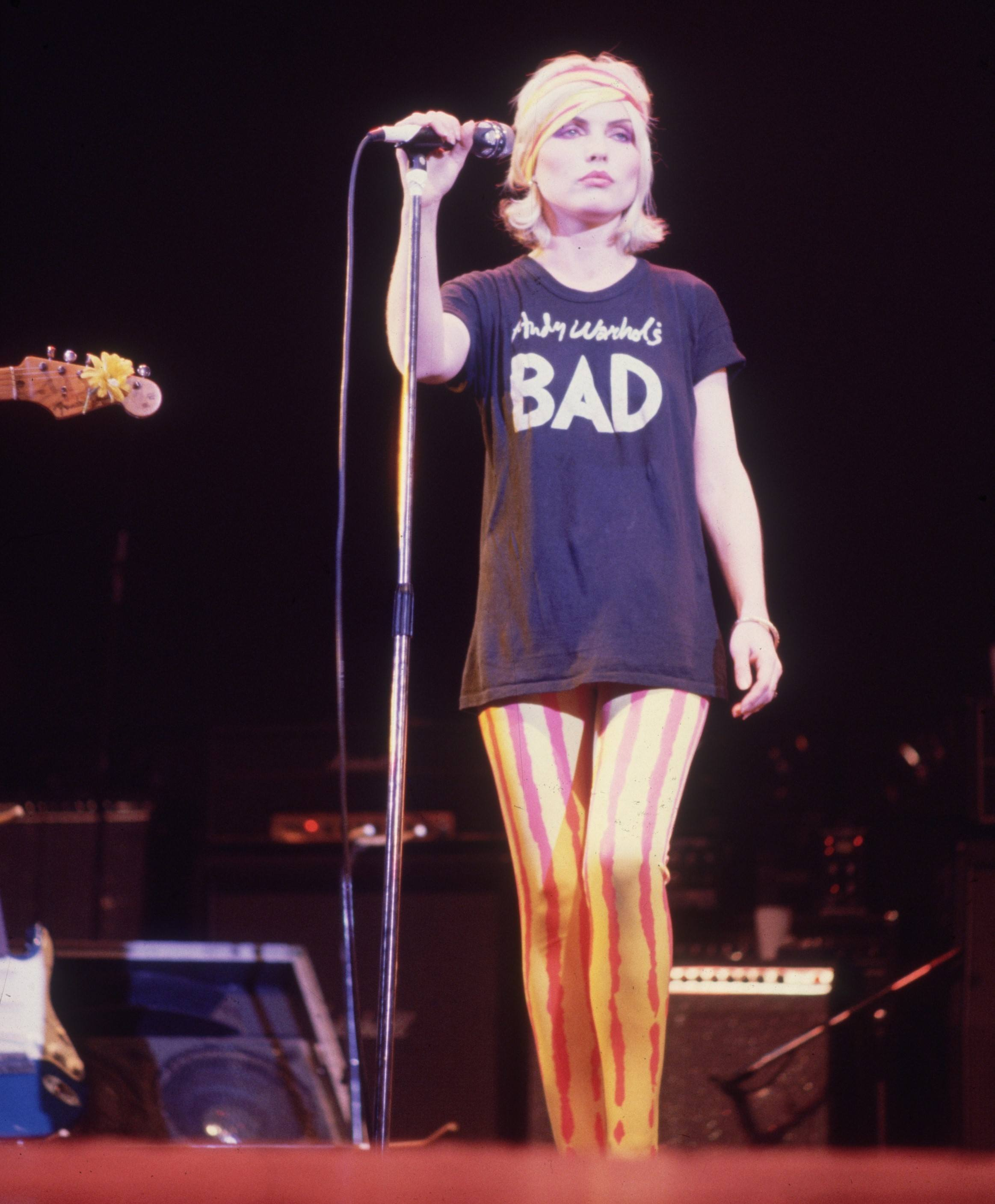 Debbie Harry, the American model and lead singer of the new wave band, Blondie, on stage.