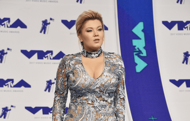 Amber Portwood poses in a gown at the VMAs.