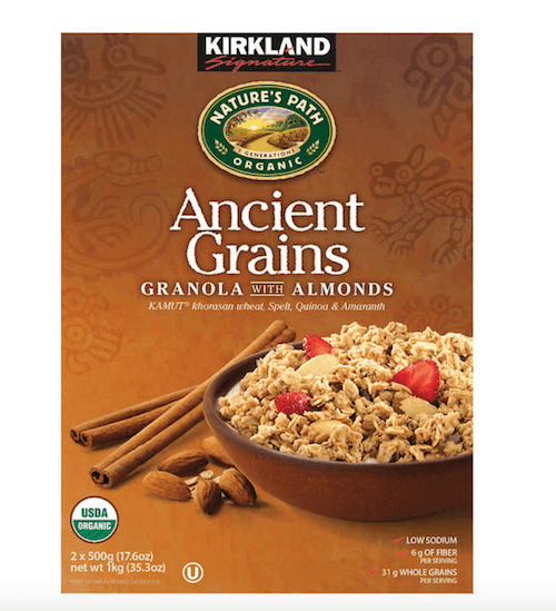 A box of Ancient Grains Granola with Almonds.
