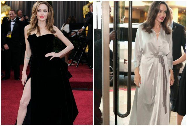Angelina Jolie weight loss collage.
