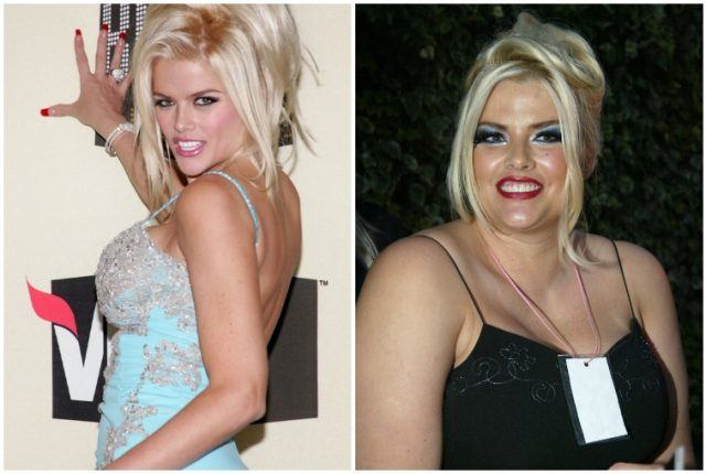 Anna Nicole Smith looking slim and heavy in a collage.