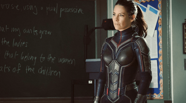 Evangeline Lilly standing in front of a blackboard in Ant-Man and the Wasp.
