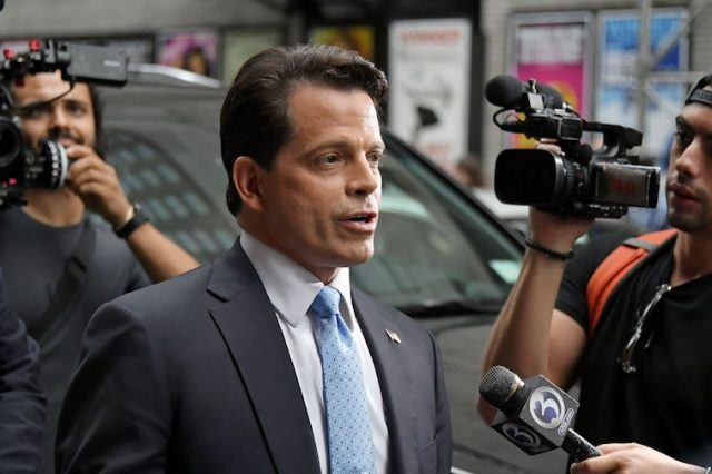 Anthony Scaramucci being interviewed in front of cameras.