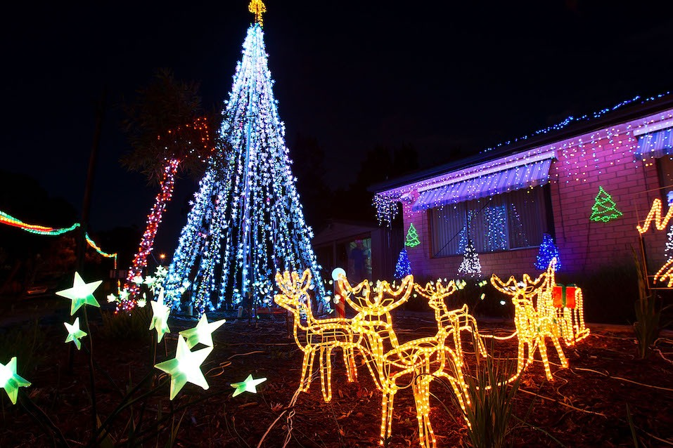 Residents across Canberra are lighting their property's with Christmas lights
