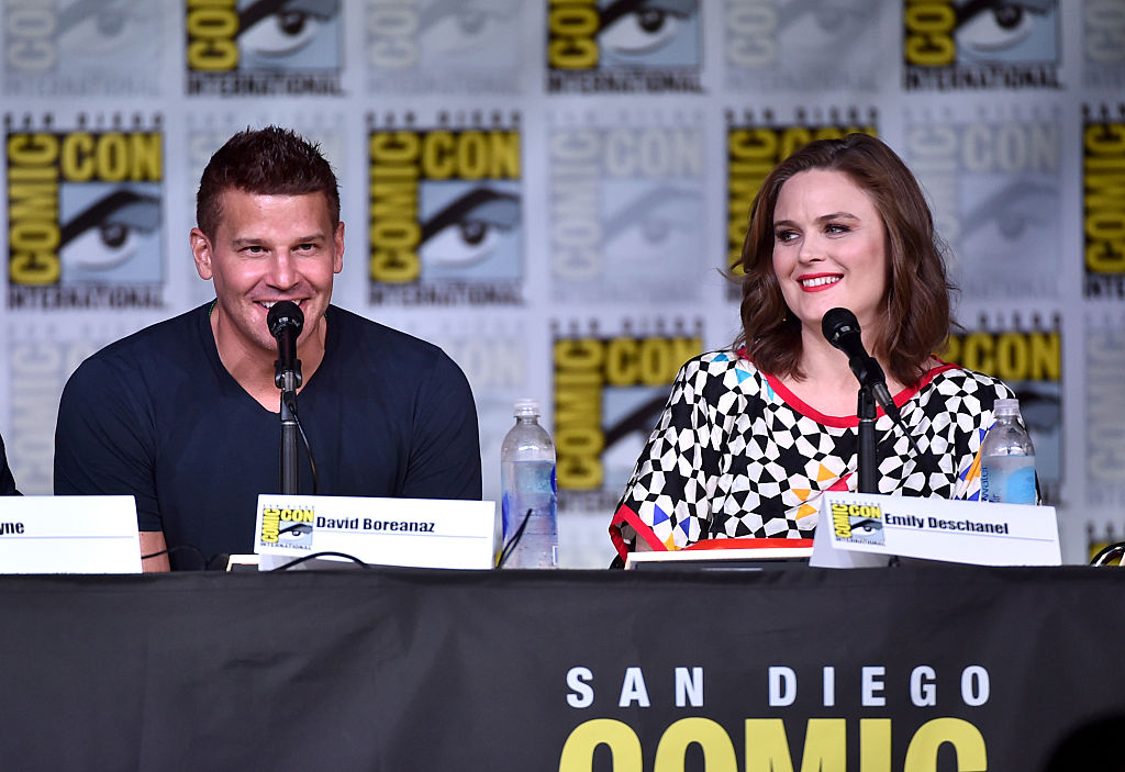 "Actors David Boreanaz (L) and Emily Deschanel attend the ""Bones"" panel during Comic-Con International 2016."