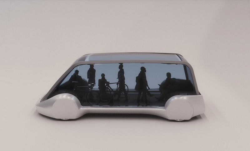 Mockup of Boring Company pod in which travelers could travel underground