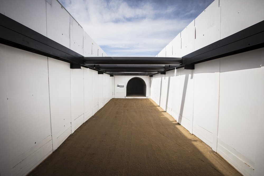 View of early stages of a Boring Company tunnel