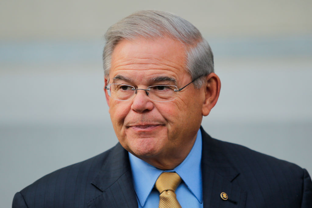 U.S. Sen. Robert Menendez (D-NJ) speaks to the media as he arrives at federal court for his trial on corruption charges