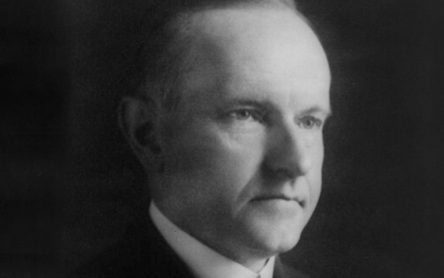 Coolidge in a black and white photograph.