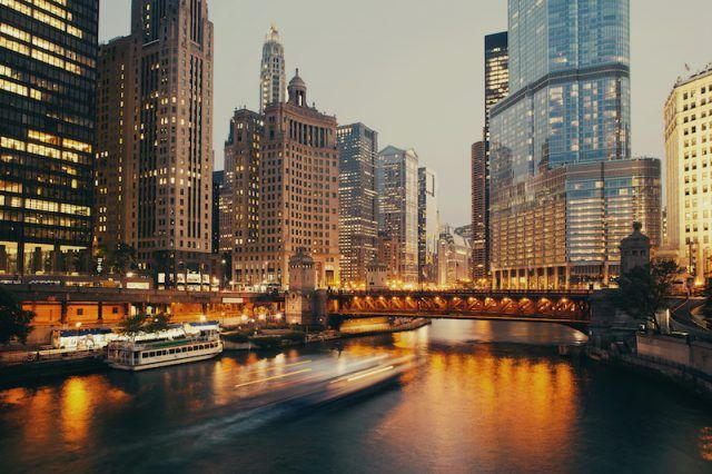 The city of Chicago seen in the evening.