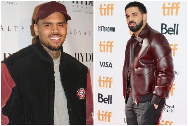Collage featuring Drake and Chris Brown.