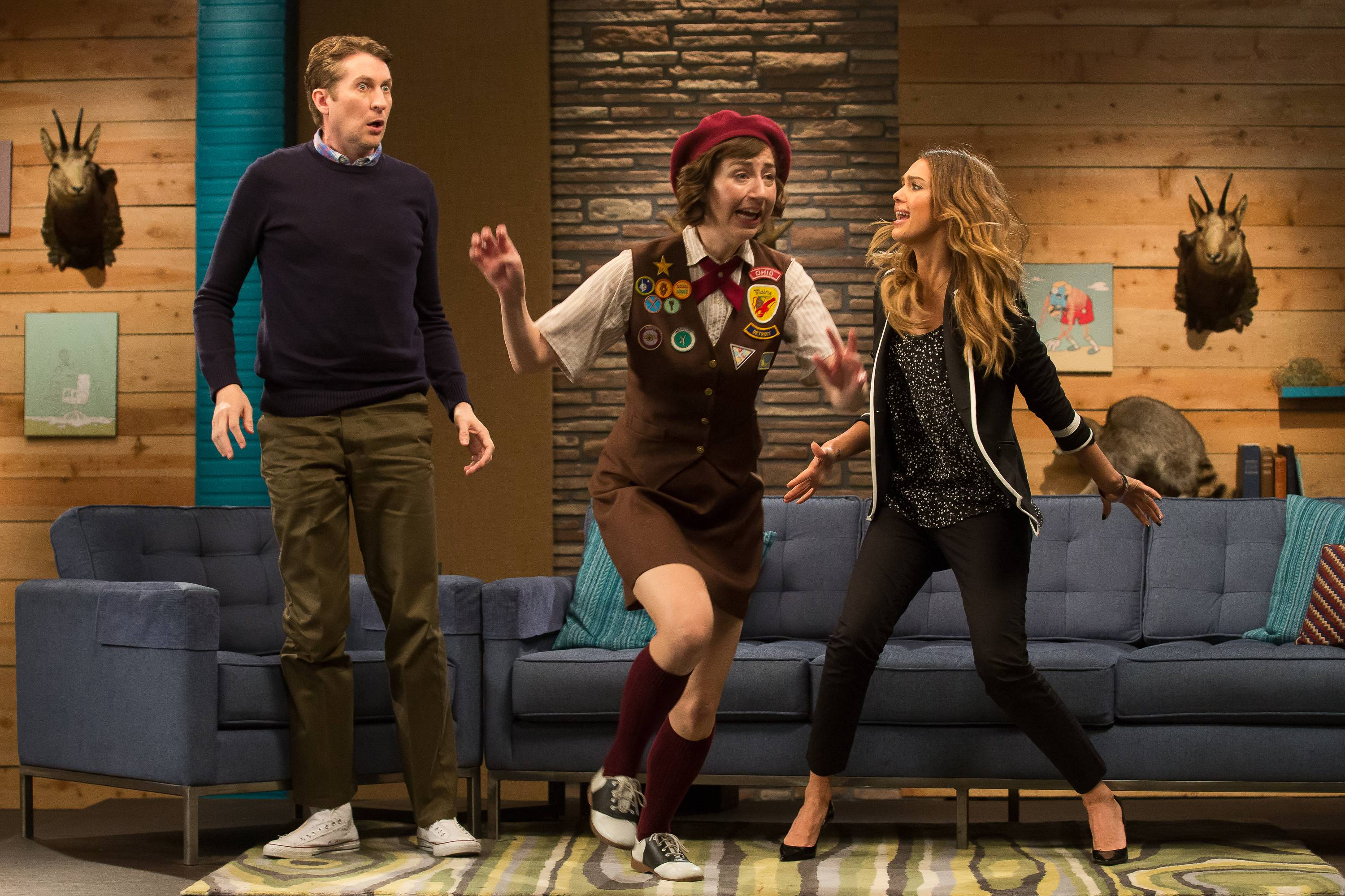 Two girls jump on Comedy Bang Bang
