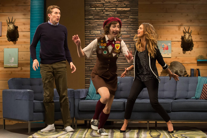 Two girls jump on Comedy Bang Bang
