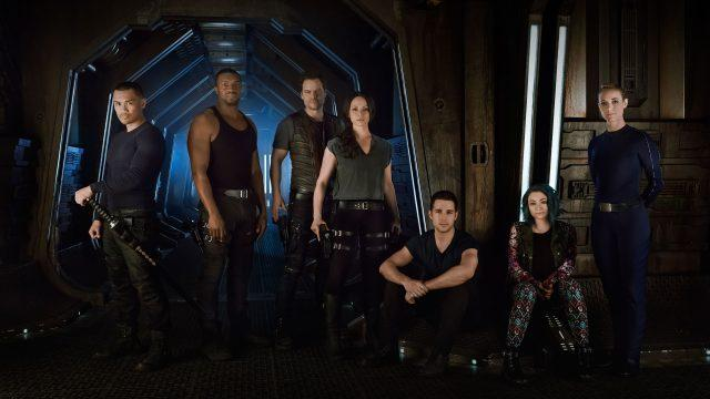 The cast of 'Dark Matter' together in the spaceship.