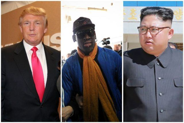 Collage featuring Donald Trump, Dennis Rodman and Kim Jong Un.