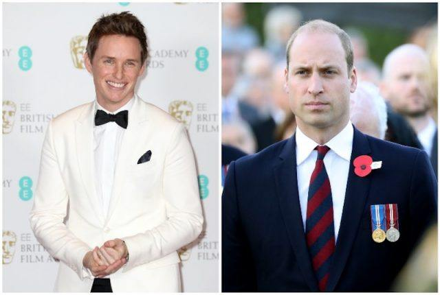 A collage of Eddie Redmayne and Prince William.