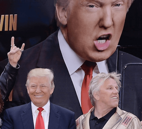 Donald Trump and Gary Busey in front of the Celebrity Apprentice set.