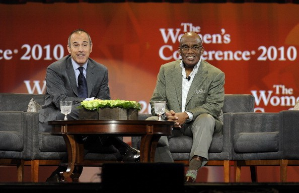 Matt Lauer and Al Roker sit together at a women's conference