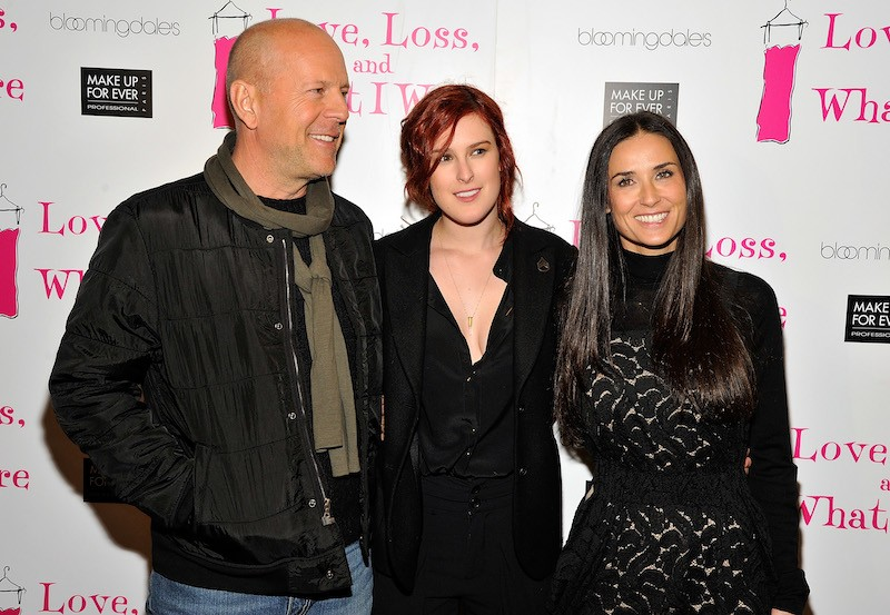 Actor Bruce Willis, Actresses Rumer Willis and Demi Moore attend the 'Love, Loss & What I Wore' new cast member celebration at B Smith's Restaurant on March 24, 2011 in New York City.