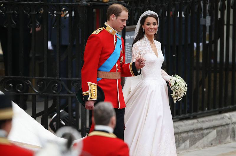 Prince William and Catherine Middleton walk out of Westminster Abbey