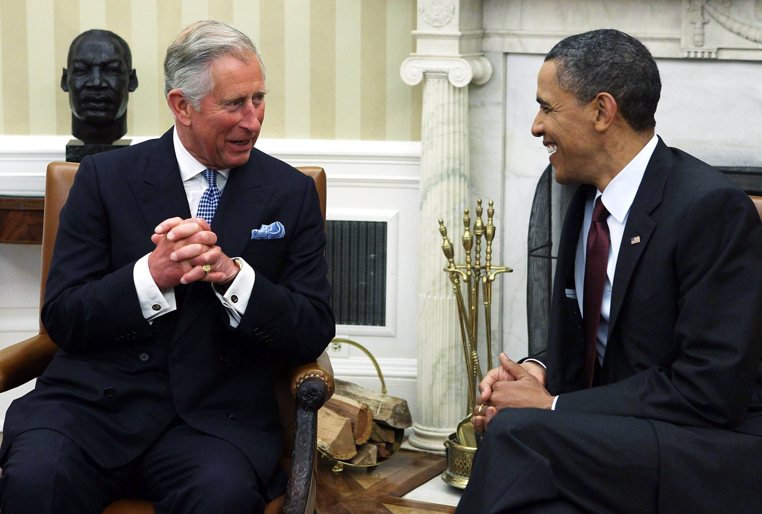 prince charles and barack obama chat in the white house