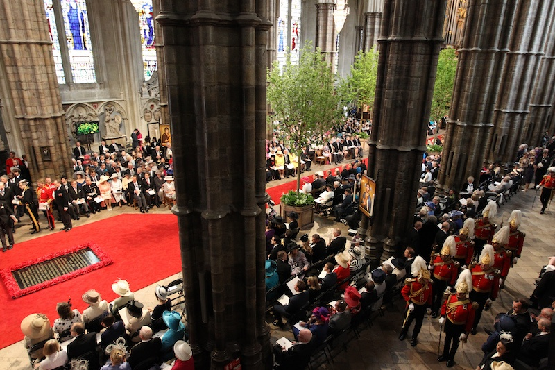 Guests attend the wedding service of Britain's Prince William and Kate.