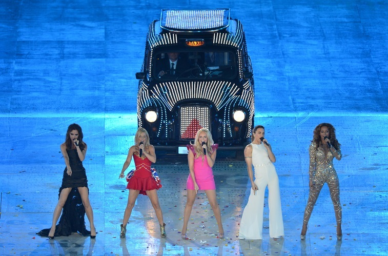 British band the Spice Girls performs during the closing ceremony of the London 2012 Olympic Games