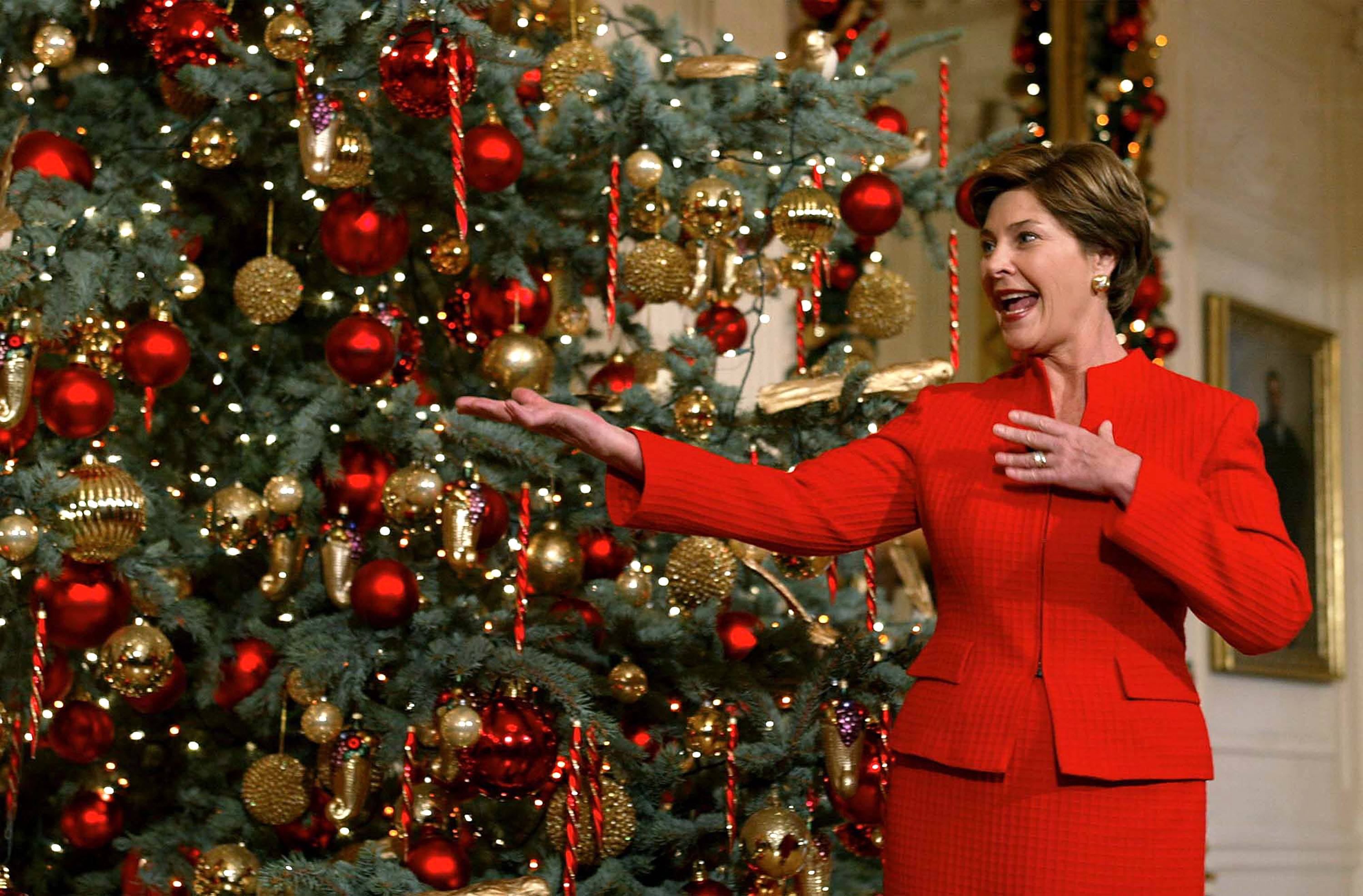 Laura Bush with a Christmas tree