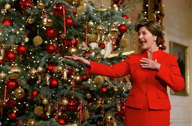 Laura Bush with a Christmas tree
