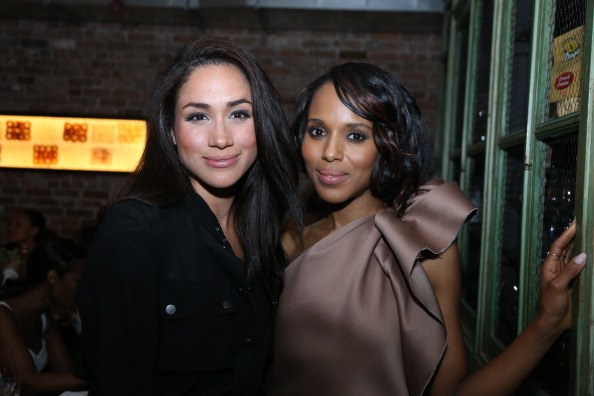 meghan markle in black with kerry washington in pink